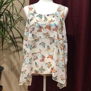 Colorful butterflies summer top size 11/13 Jrs